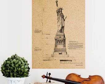 Statue of Liberty Poster New York Architecture Wall Art Vintage Retro Classic Sketch