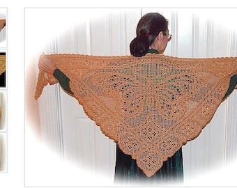 Viceroy butterfly shawl/crochet lacework/knitting shawl/filet crochet/japanese ebook/crochet shawl/Knitting stol/crochet accessories