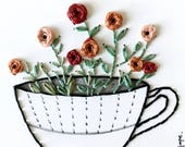 Roses hand embroidered on paper -  Roses in a cup wall decor gift- -House warming gift-Modern home-Simple interiors-Home and Garden