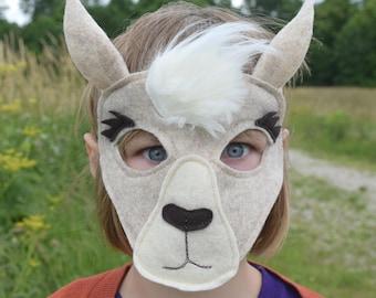 Handmade felt llama mask