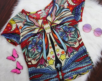 90's vintage hippy colorful trippy butterfly Tshirt with flower, moons, and stars size Small
