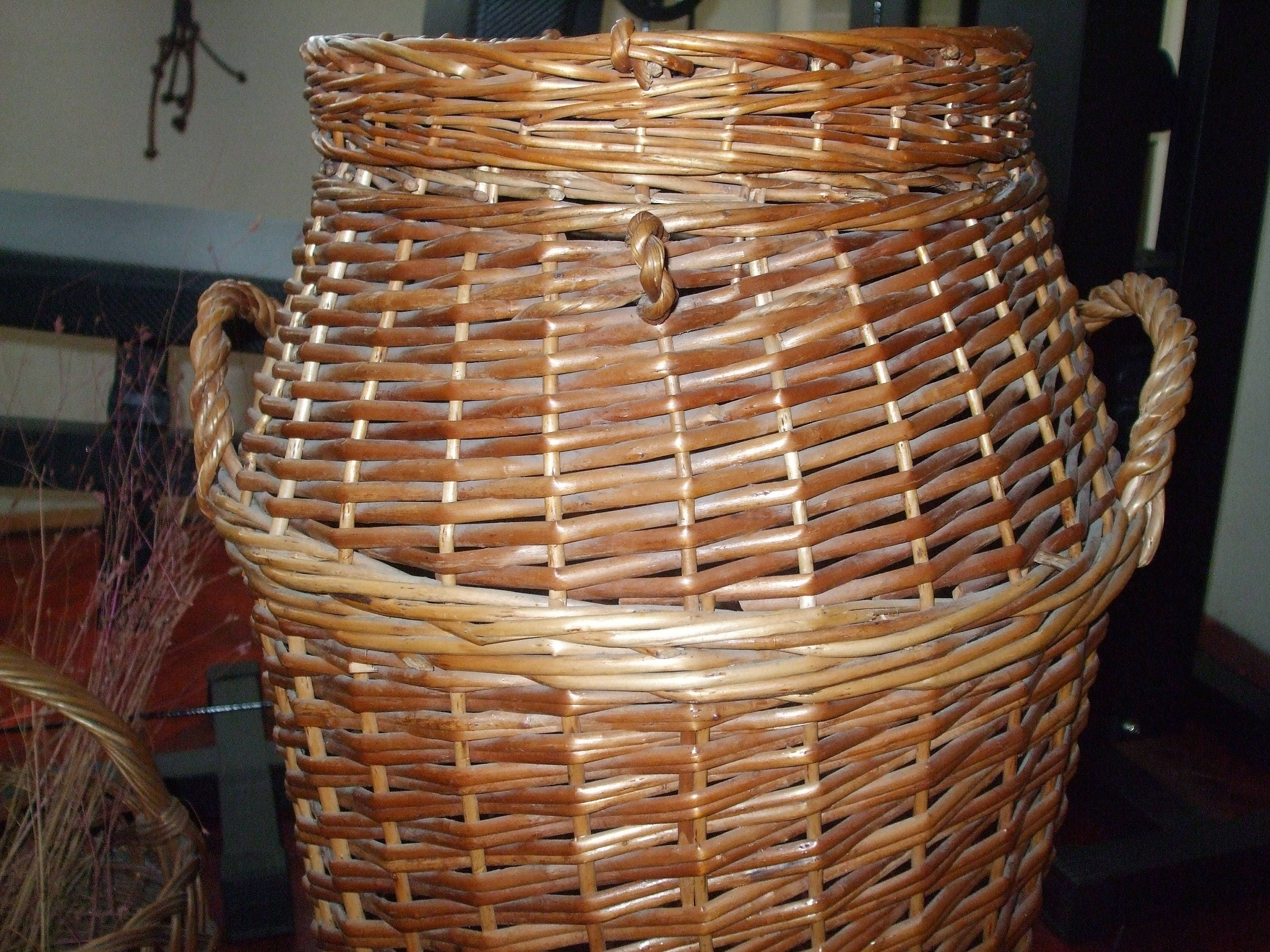 On salevintage natural wicker clothes basket 60s hamper with - Wicker clothes hamper ...