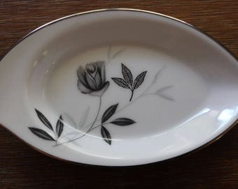 Vintage Noritake Rosamor China Japan Small Ashtray c50s-70 Grey Roses Platinum