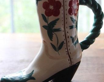 Vintage Ceramic Cowboy Boot Indoor Succulent Windowsil Planter