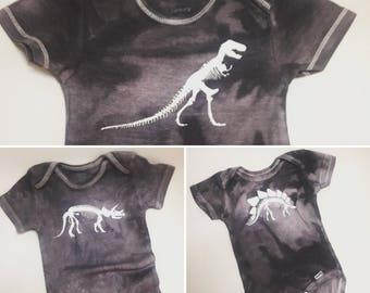 Dinosaur onesie, t-rex onesie, gray onesie