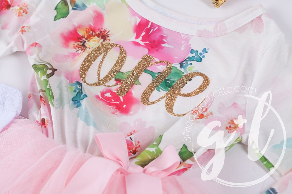 7048e4c0 First Birthday Outfit Pink Floral Long Sleeve Gold Script