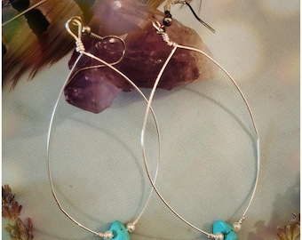 Turquoise with Pearl Dangle Earrings