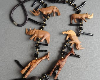 Vintage Tribal Wooden Heishi Necklace with Carved African Safari Animals