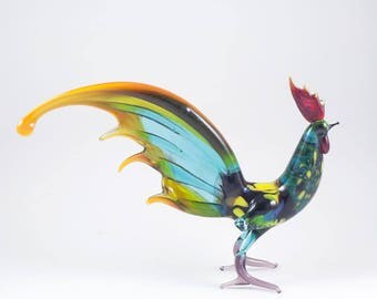 Glass Figurine Rooster with Long Tail