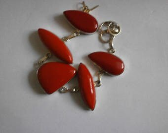 Scarlet Coral bracelet, Huge polished pieces,