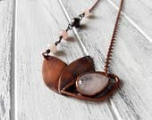 stylized Lotus flower in pink quartz or Amethyst or copper Signet Moonstone on long necklace-available to order