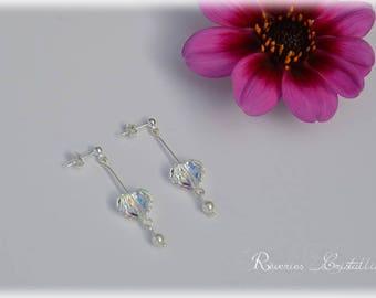 Wedding earrings Swarovski Crystal heart, Silver earrings - heart earrings, silver earrings, crystal heart