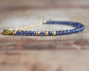 Iolite Bracelet, Water Sapphire Delicate Gemstone Jewellery, Dainty Gold Stacking Bracelet, Inky Violet Water Sapphire Jewelry, Gift for Her