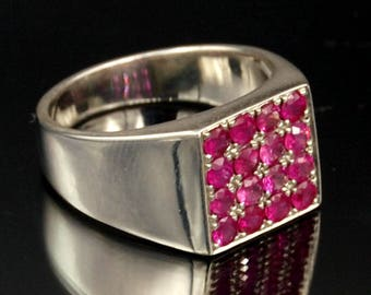 Natural ruby silver ring men woman round in square