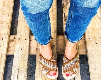 Boho mules, Greek leathet sandals, Greek Sandals, Slip on Sandals,Leather Sandals, Women's Sandals, Pom Pom Sandals, Leather flats,