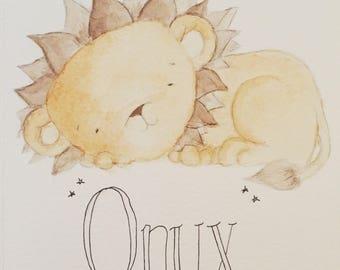 Personalised baby sleeping lion cub nursery watercolour painting