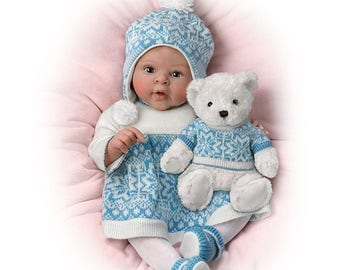 Ashton Drake - Eskimo Kisses Lifelike Baby Girl Doll with Touch Activated Plush Bear by Sherry Rawn