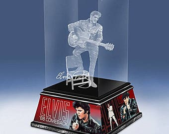 Elvis Presley King Of Rock And Roll Legend Glass Sculpture by The Bradford Exchange