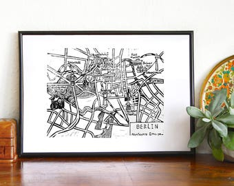 The Berlin city map,handcarved linoprint streetmap,I love Berlin,gift for the Berlin lover,wall decoration,Berlin of your wall,Map of Berlin