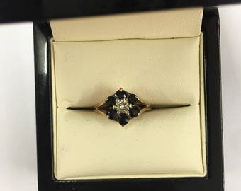 Vintage 9ct Yellow Gold Sapphire and Diamond Cluster Ring Size J