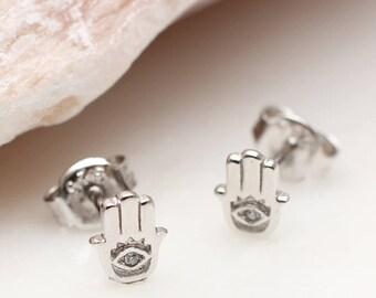 Sterling Silver Mini Hamsa Earrings (HBE68)