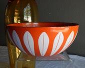 "Mid Century Modern Cathrineholm Norway Orange Enamel Lotus Bowl 7"""