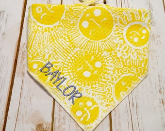 Personalized Dog Bandana Lilly P -  SunGlow Kissed by the Sun in yellow and white. Sturdy cotton pique.  Great for any fur color. Reversible