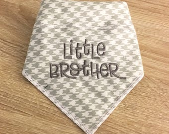 Little Brother Dog Bandana.  Flannel neckwear in classic gray houndstooth plaid  Pregnancy announcements and pet photos. Name on back
