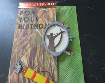"Archery Happy Birthday Card, Front: ""ARCHERY- For Your Birthday, Man taking aim, Hope your Birthday is right on Target"""