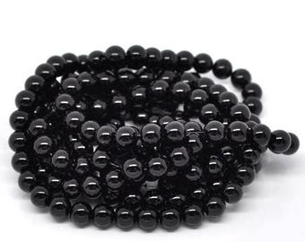 5 gorgeous 10mm black glass beads
