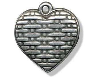 Metal 30mm antique silver heart pendant