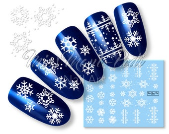 Snowflake nail decal etsy nail art water slide decals transfers stickers wintery christmas xmas snowflakes snow frost icicle k277 prinsesfo Images