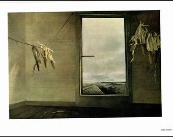 """Seed Corn and The Revenant painted by Andrew Wyeth. The page is approx. 16 1/2 inches wide and 13 inches tall. Corn image 13"""" X 9 1/4""""."""