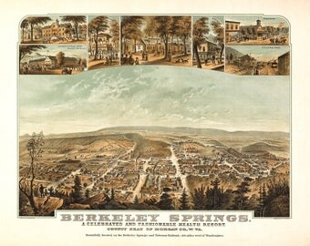 Berkley Springs W. VA Panoramic Map dated 1867. This print is a wonderful wall decoration for Den, Office, Man Cave or any wall.