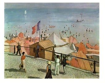 """Ete, La Plage Des Sables D'Olonne by Albert Marquet. These Bookplates are copy write 1966. The pages are approx. 11"""" wide and 15"""" tall."""