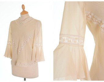 Vintage 1930s cream crepe silk embroidered blouse shirt - size S/M