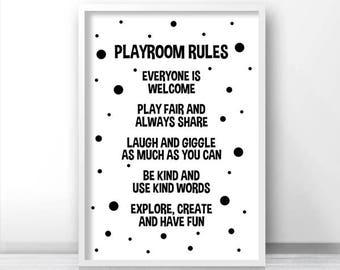 Playroom Print, Digital Download Playroom Decor, Printable Playroom Rules, Monochrome Nursery Print, Black White Kids Print, Playroom Art