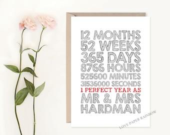 1st wedding anniversary card, custom anniversary gift, 1st year as mr and mrs, personalised wedding anniversary, wedding anniversary art