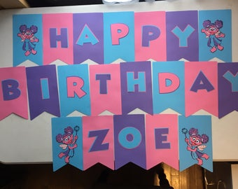 Abby Cadabby Birthday Banner (comes assembled) and can be personalized with child's name.