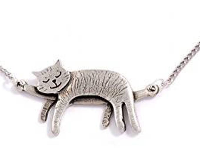 Sleeping cat necklace  with 18 inch chain–  Ideal Gift For Animal Lover - Mom - Birthday- or Just For You
