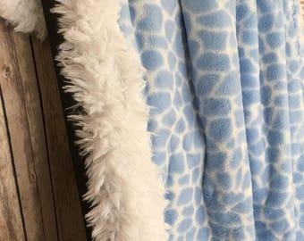 Giraffe Baby Blanket Minky and Llama Baby Boy Blanket -Giraffe Baby Boy Blanket Crib Blanket Baby Boy Baby Shower Gift