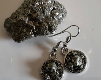 PYRITE EARRINGS 12mm GENUINE Stone crushed pyrite handcrafted
