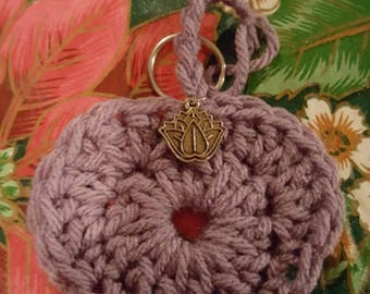 Crochet purple heart pendant keychain