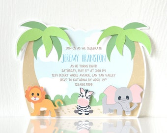 Jungle Party Invitations: layered cards, kids birthday, boy birthday, animal party, zoo party, petting zoo, safari birthday- LRD056P