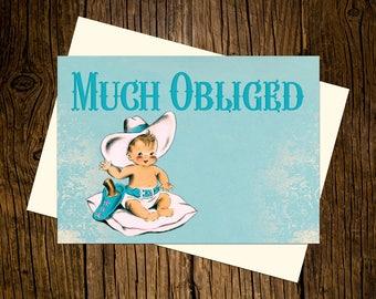 Western Thank You Note Cards Custom Printed Handmade Stationery Set of 12 Vintage Ecru Blue Cowboy
