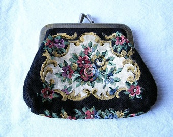 70s Flower Tapestry wallet / Solid cotton fabric