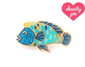 Humphead Wrasse Enamel Pin (cute fish pin lapel pin badge glitter enamel jewelry rainbow fish jewelry endangered conservation backpack pins)