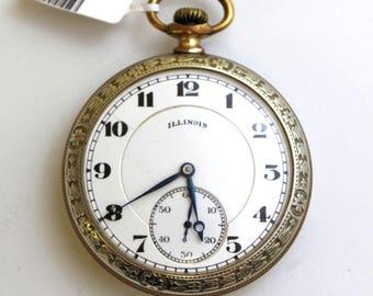 "Vintage 1921 Illinois ""Aristocrat"" 305 Pocket Watch Gold Filled 3858256 - WAT10083"