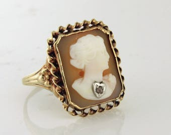 Cameo Diamond Ring 10k gold circa 1940s - CAMRI10003