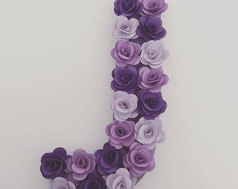 Decorative Letter with Paper Flower- Monogram Baby Nursery- Baby Shower - Purple-Violet-Lavender